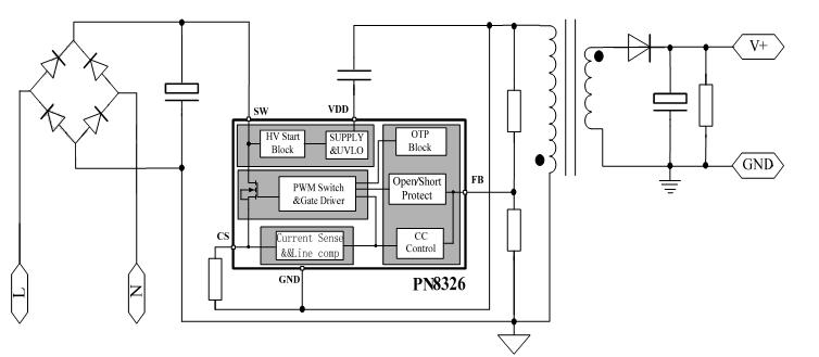 led恒流驱动电源ic应用电路