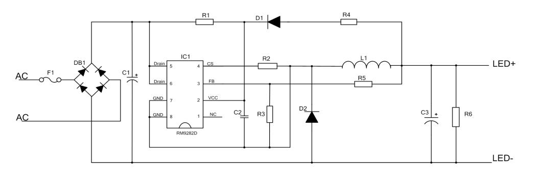 型号:RM9282D 一、产品应用  二、概述 RM9282D是一款带三段开关调光功能的高精度降压型LED恒流芯片,适用于85Vac-265Vac全范围输入电压的非隔离降压型LED恒流电源。RM9282D内部集成三段调光控制电路,可通过开关调节输出电流大小。由于工作在电感电流临界连续模式,功率MOS管处于零电流开通状态,开关损耗得以减小,同时电感的利用率也较高。RM9282D内部集成500V功率MOSFET,只需要很少的外围器件,即可以实现优异的恒流特性。并采用浮地构架,可实现高精度输出恒流控制,并达到优