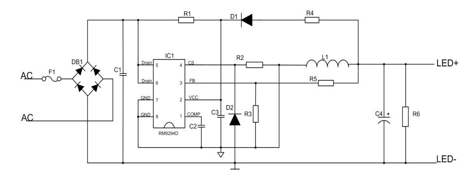 18-24w非隔离高pf值开光调光led驱动芯片-rm9294d