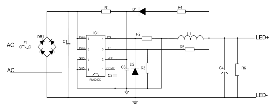 高PFC三段调光高精度降压型LED恒流芯片 型号:RM9292D 一、产品应用  二、概述 RM9292D是一款带有源功率因数校正、支持三段调光功能的高精度降压型LED恒流芯片,适用于85Vac-265Vac全范围输入电压的非隔离降压型LED恒流电源。RM9292D集成有源功率因数校正,可以实现很高的功率因数和很低的总谐波失真。RM9292D内部集成三段调光控制电路,可通过开关调节输出电流大小。由于工作在电感电流临界连续模式,功率MOS管处于零电流开通状态,开关损耗得以减小,同时电感的利用率也较高。RM9