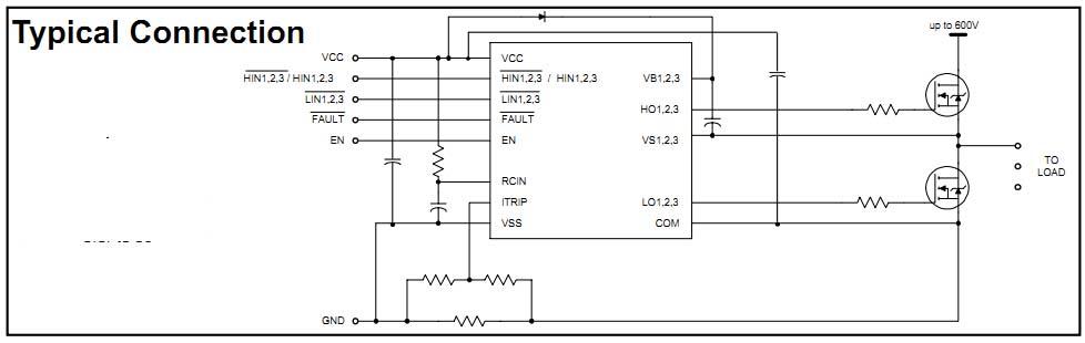 3相半桥驱动芯片 型号:IR2136 一、概述 IR2136是一款具有三相独立输出的高压、高速功率MOSFET和IGBT高低侧驱动芯片,其浮地通道能工作在600V的高压下,可用于驱动2个N型功率MOSFET或IGBT结构,该芯片逻辑输入电平兼容低至3.3V的CMOS或LSTTL逻辑输出电平,该芯片可以通过外部电流感应电阻传送信号对6个输出进行关断,实现过流保护功能,使能端可以同时关断6个输出通道。FAULT端信号用于提示过流或者欠压情况的发生,过流信号的自动清除时间可以通过外部可编程的RC延时网络提供。输