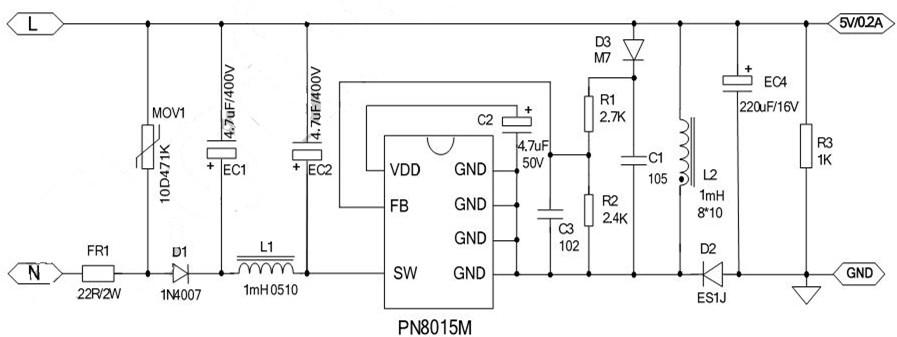 二、概述 PN8015M集成PFM控制器及800V高雪崩能力智能功率MOSFET,用于外围元器件极精简的小功率非隔离开关电源, 输出电压可通过FB 电阻调整。PN8015M 内置800V高压启动与自供电模块,实现系统快速启动、超低待机、自供电功能。该芯片提供了完整的智能化保护功能,包括过载保护,欠压保护,过温保护。另外PN8015M的降频调制技术有助于改善 EMI特性。