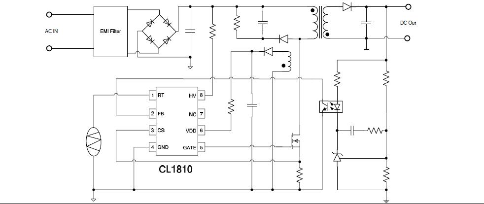 pwm控制器--cl1810  ◆抖频功能,良好的emi ◆无音频噪音的绿色控制