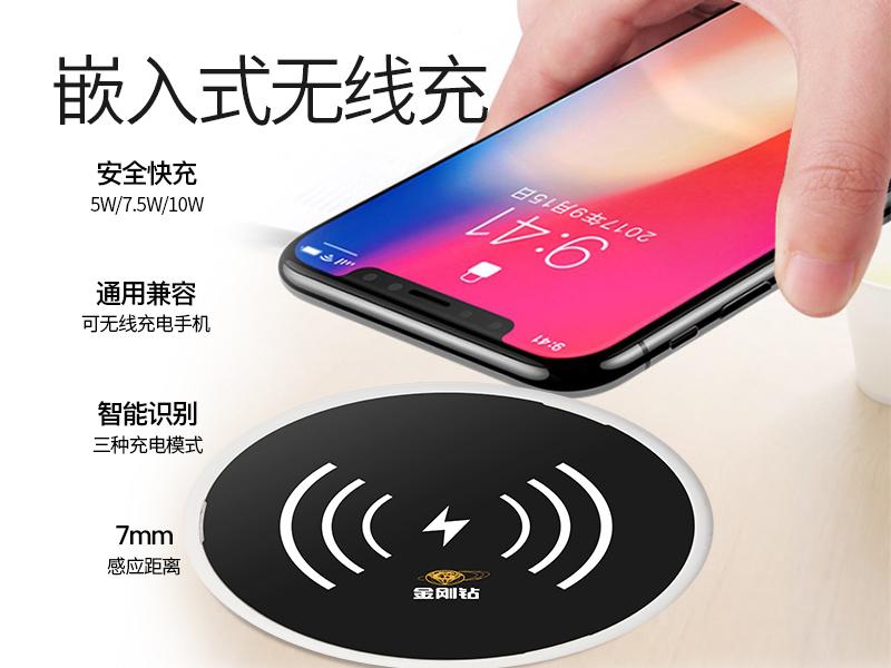 新款嵌入式办公家具无线充电器 快充10W无线充电板可定制客户LOGO-X09A
